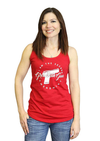 Pistol 2nd Amendment Racerback Tank Top - Red
