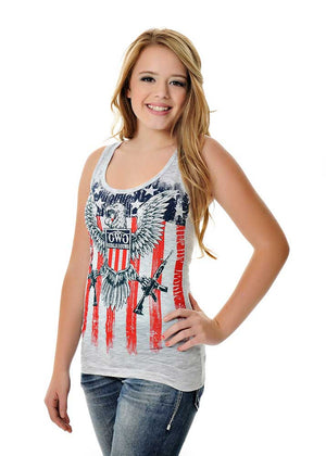 Womens 2nd Amendment Tank in Heather Grey by Girls With Guns