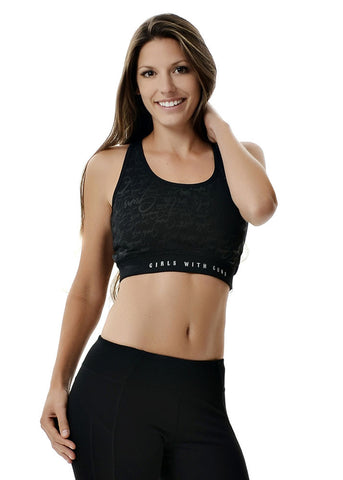 Womens Sports Bra in Black by Girls with Guns