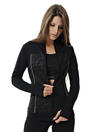 Womens Athletic Zip Up in Black by Girls with Guns