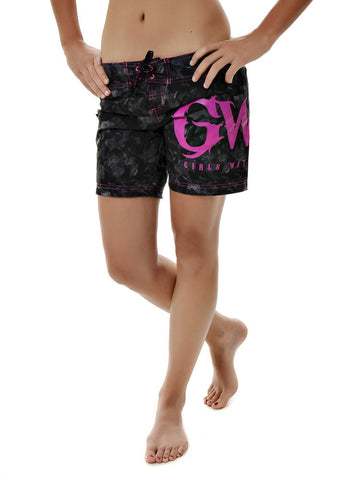 Womens Boardshorts in GWG Ebony by Girls With Guns Full Length