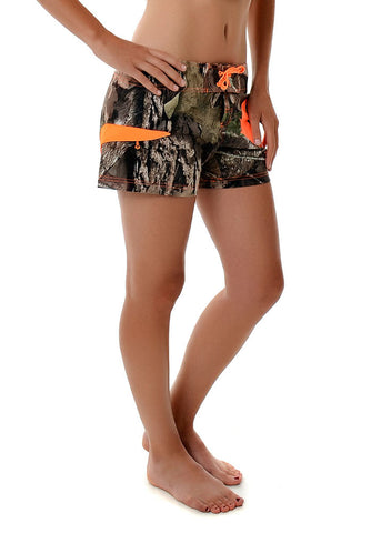 Women's Board Shorts in Mossy Oak Break Up Country Camo by Girls with Guns Full View