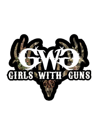 GWG Camo Buck Sticker White - Girls With Guns