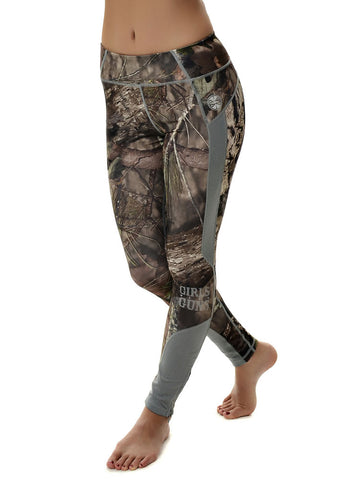 Womens Running Pants in Mossy Oak Camo and Gray by Girls with Guns