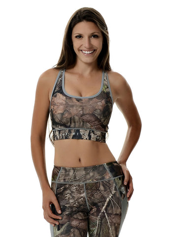 Womens Sports Bra in Mossy Oak Camo and Gray by Girls with Guns