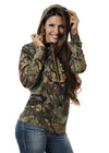 Womens Camo Buck Stamp Hoodie Mossy Oak Country Alternate View with Hood On by Girls with Guns