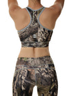 Womens Sports Bra in Mossy Oak Camo and Gray Back View by Girls with Guns