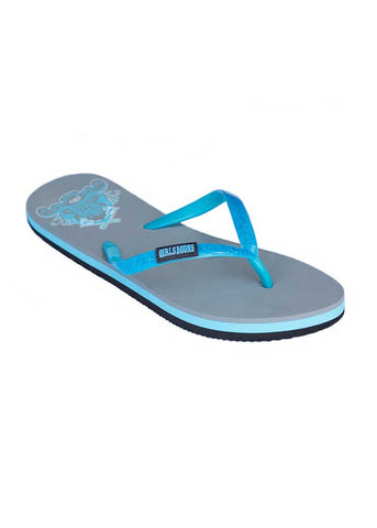 Womens Flip Flops with Crossing Pistols in Teal by Girls With Guns