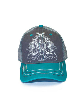 Crossing Pistols Ball Cap Teal - Girls With Guns