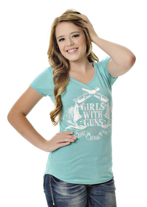 Womens Crossing Pistols Tee in Teal by Girls With Guns