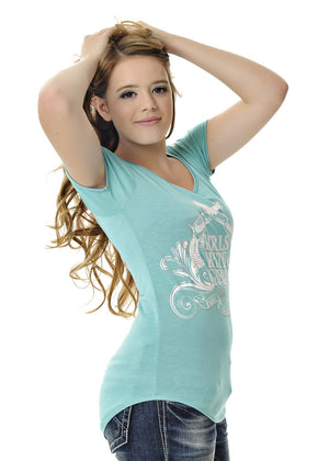 Womens Crossing Pistols Tee in Teal by Girls With Guns Side View