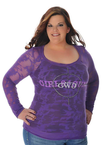 GWG Scope Burn Out Long Sleeve Purple - Girls With Guns