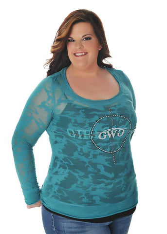 GWG Scope Burn Out Long Sleeve Teal - Girls With Guns