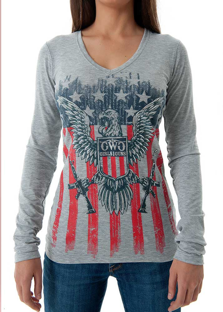 2nd Amendment Long Sleeve Charcoal - Girls With Guns