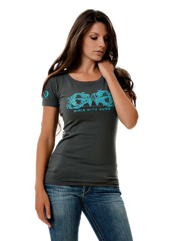 Womens GWG Basic Tee in Charcoal by Girls with Guns