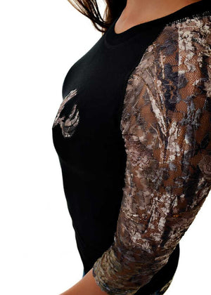 Womens Lace Sleeve Shirt in Black and Mossy Oak Camo Detailed View by Girls with Guns