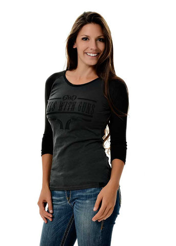 Womens 6 Shooter Shirt Charcoal by Girls with Guns