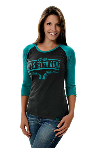 Womens 6 Shooter Shirt Teal by Girls with Guns