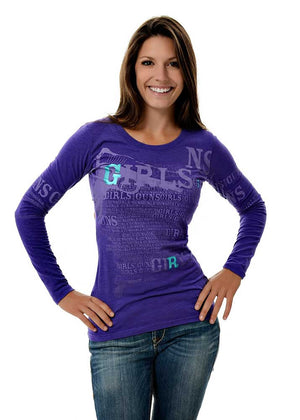 Womens Pistol Long Sleeve in Purple by Girls with Guns