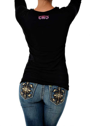 Womens Stone Long Sleeve in Black Back View by Girls with Guns