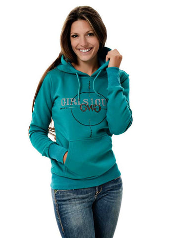 Womens Scope Pullover Hoodie in Teal by Girls with Guns