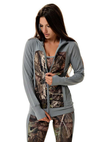Womens Athletic Zip Up in Mossy Oak Camo and Gray by Girls with Guns