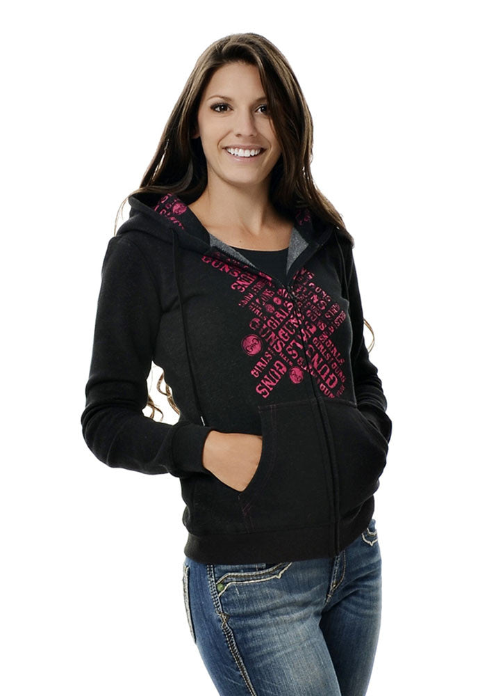 Womans Ear Protection Hoodie in Black by Girls with Guns