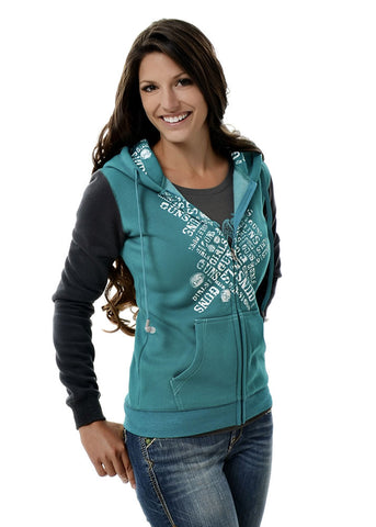 Womens Ear Protection Hoodie in Teal by Girls with Guns