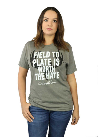 Womens Field to Plate Grey Tee by Girls with Guns