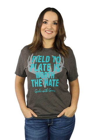 Womens Field to Plate Charcoal Tee by Girls with Guns