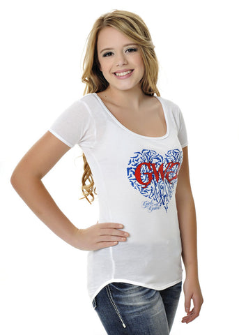 Womens Gun Heart Tee in White by Girls With Guns