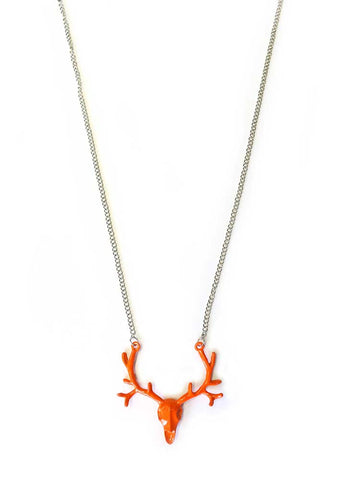 Buck Skull Necklace - Orange