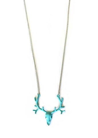 Buck Skull Necklace - Teal