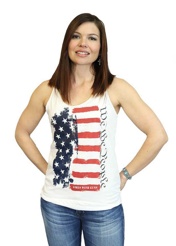 We The People Flag Racerback Tank Top - White
