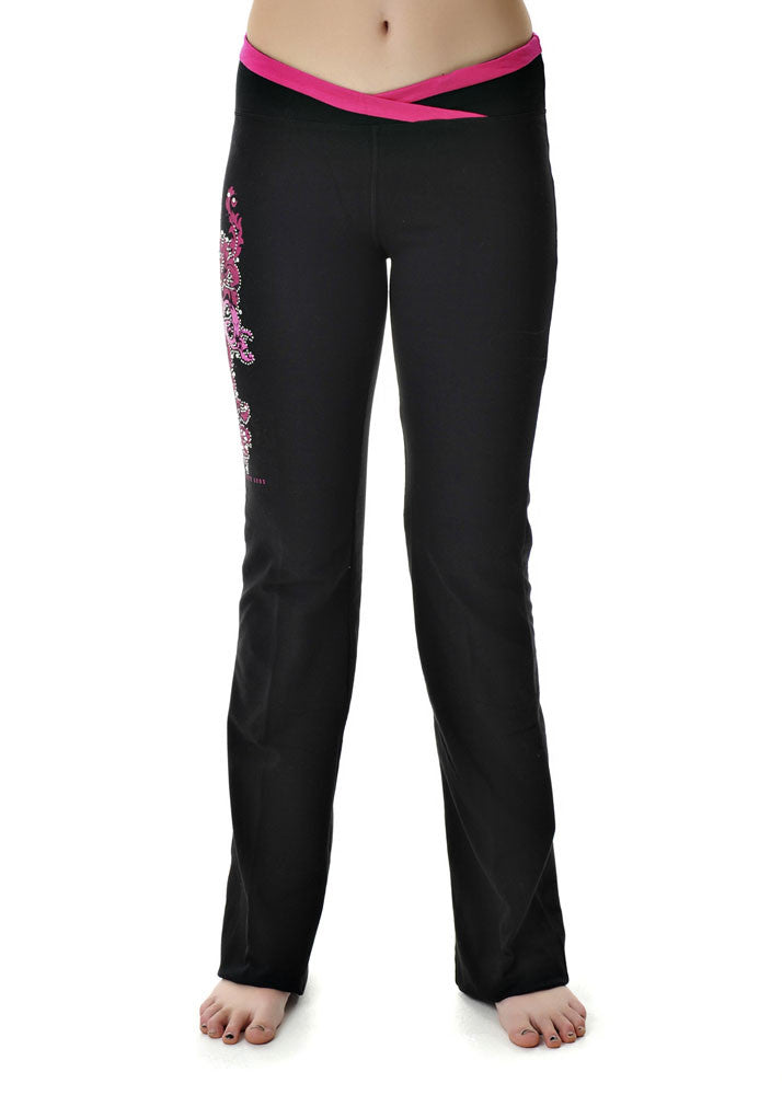 Womens Lounge Pants in Black by Girls With Guns Detail View