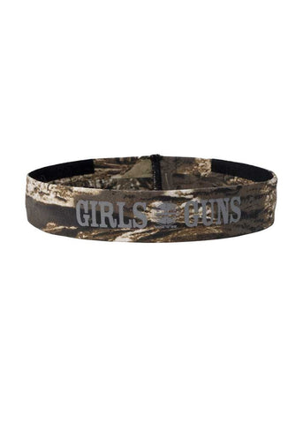 Womens Sports Headband in Mossy Oak Camo and Gray by Girls with Guns
