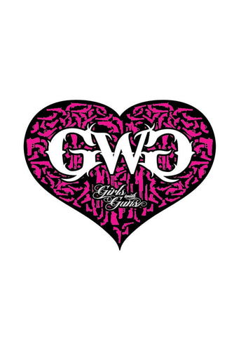 Gun Heart Sticker - Black/Pink