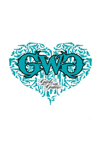 Gun Heart Sticker - Teal