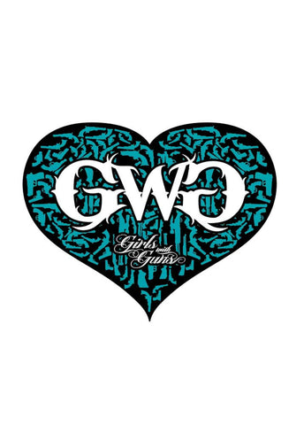 Gun Heart Sticker - Black/Teal
