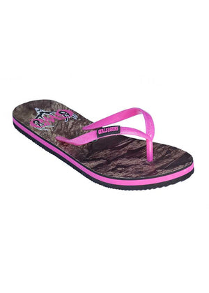 Womens Flip Flops in Mossy Oak Country Camo with Pink by Girls With Guns