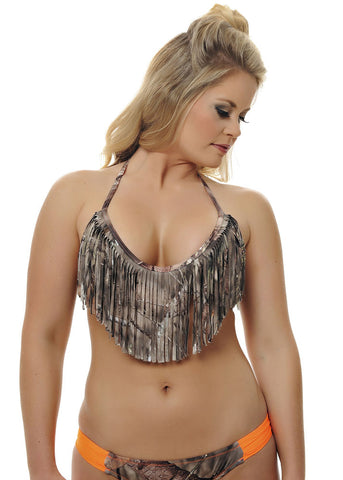 Womens Fringe Bikini Top in Mossy Oak Break Up Country Camo by Girls With Guns