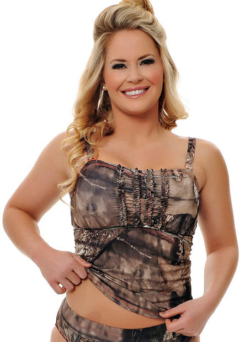 Womens Tankini Top in Mossy Oak Break Up Country Camo by Girls With Guns Front View