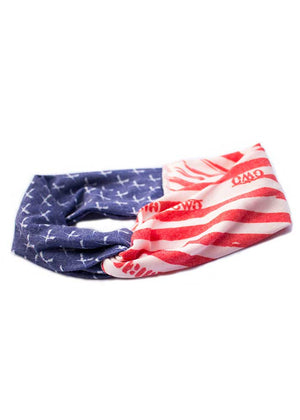 Womens Fashion Twist Headband in Patriot Red White and Blue by Girls With Guns