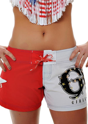 Womens Board Shorts in Patriotic Red White and Blue by Girls With Guns Front View