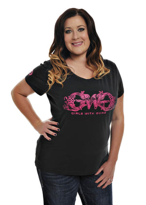 Womens Plus Size Basic GWG Tee in Black by Girls with Guns