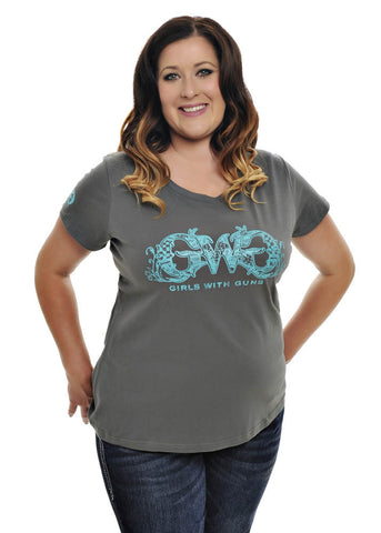 Womens Plus Size GWG Basic Tee in Charcoal by Girls with Guns