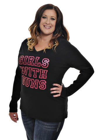 Womens Plus Size Stone Long Sleeve in Black by Girls with Guns