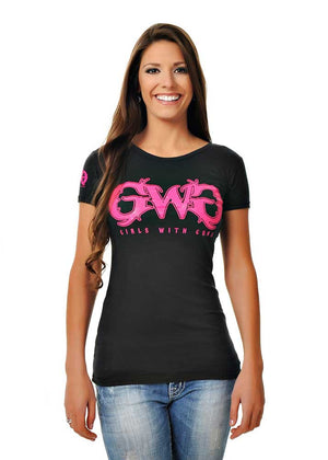 Womens Basic GWG Tee in Black by Girls With Guns