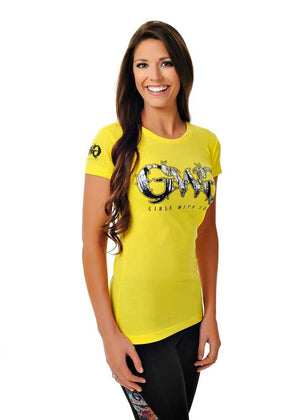 Womens Basic GWG Tee in Neon Yellow by Girls With Guns