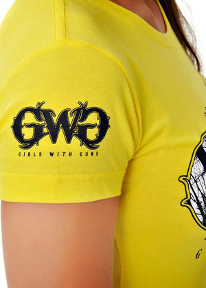 Womens Basic GWG Tee in Neon Yellow by Girls With Guns Detail View